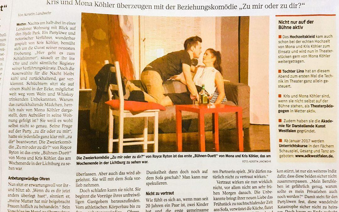 """WAZ über Mona & Kris in """"Zu dir oder zu mir"""""""
